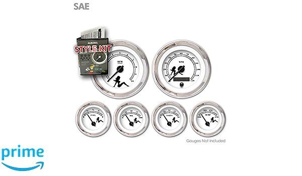 Black Text, Black Modern Needles, Chrome Trim Rings Aurora Instruments 1560 Mudflap White SAE Style Kit