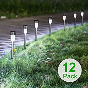 Boomile 12Pack Outdoor Solar Garden Lights, Solar Pathway Lights, Outdoor Landscape Lighting for Lawn/Garden/Walkways SCD-2476 (Stainless Steel)