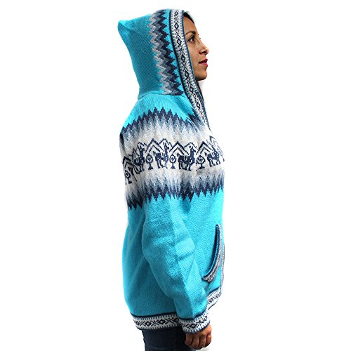 CELITAS DESIGN Cardigan Hoodie Zip Pockets Sweater Inca Made In Peru (Alpaca Wool Sweater)