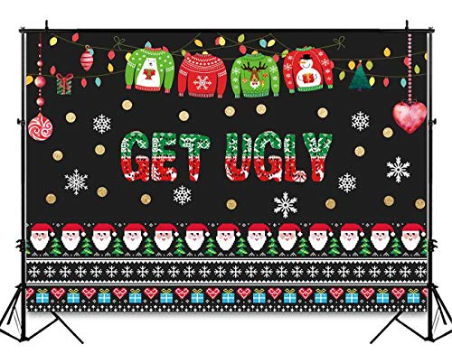 Funnytree 7x5ft Ugly Christmas Sweater Party Backdrop Tacky Blackboard Winter Xmas Photography Background Elfed Kids Chalkboard Photobooth Decorations Banner Invitation