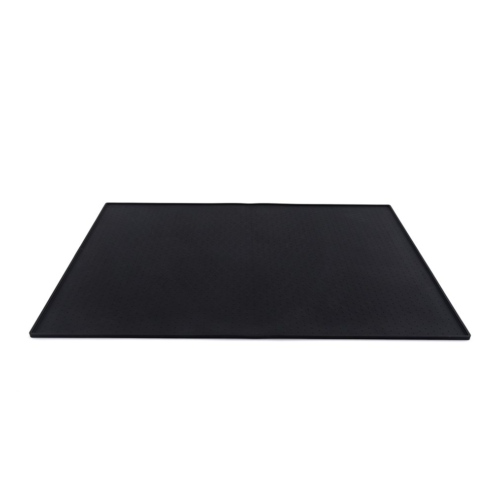 EKGrass 24'' x 16'' Pet Feeding Mat Tray Extra Large Environment Silicone Waterproof Anti-slip Dog Bowl Placemat(Black)