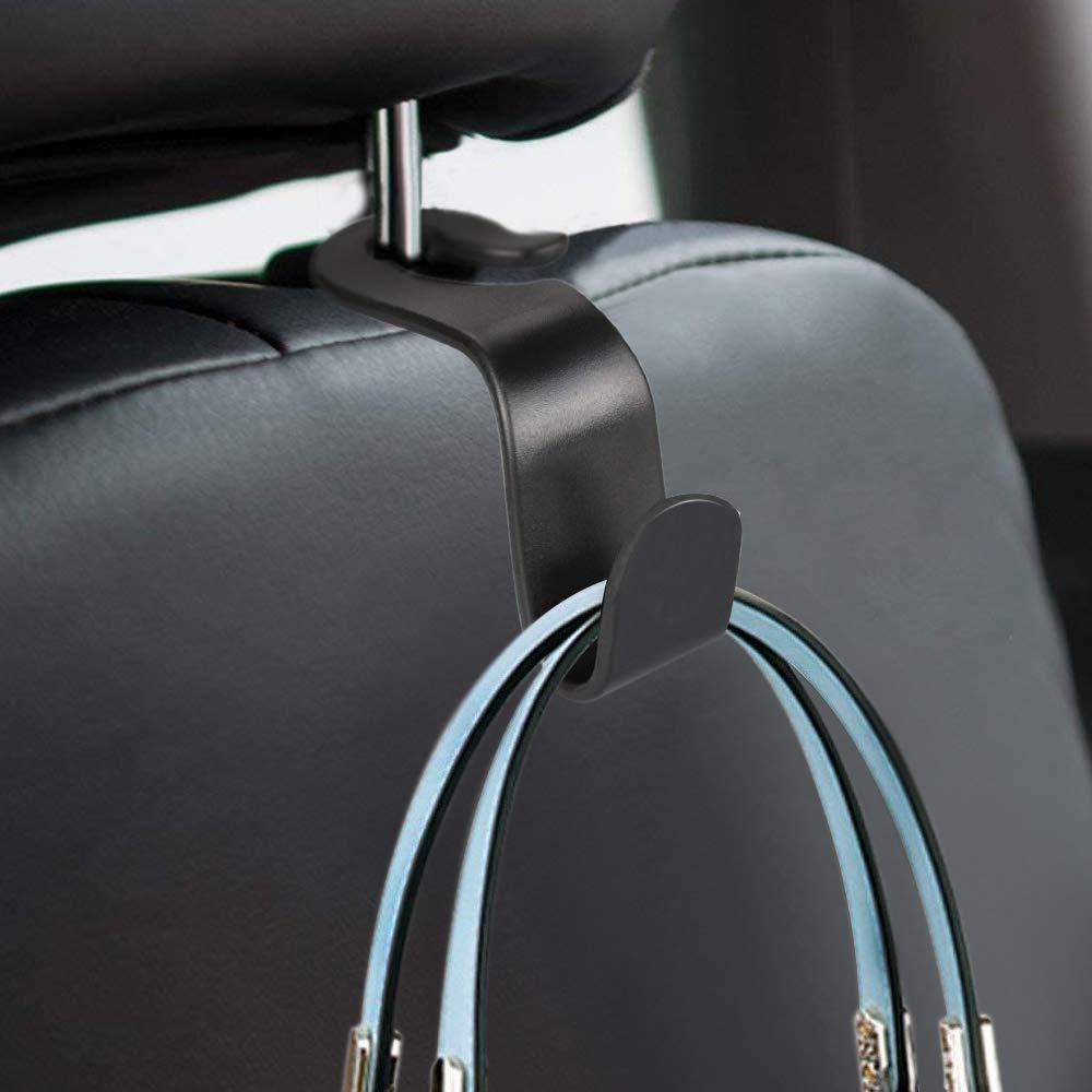 QMET Car Headrest Hook Vehicle Back Seat Hanger Storage for Purse Groceries Bag Handbag