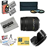 Sigma Super Zoom 18-250mm f/3.5-6.3 DC Macro OS HSM (Optical Stabilizer) 883-101 Lens For the Canon EOS Rebel T2i T3i T4i T5i 550D 600D 650D 700D Kiss X4 X5 X6 X6i X7i DSLR Digital Camera Includes 3 Piece 62mm Pro Filter Kit (UV, CPL, FLD Lens) + Flower Lens Hood + 2 Replacement Canon LP-E8 LPE8 Batteries 2000MAH Each 4000MAh in Total + Deluxe Lens Cleaning Kit + LCD Screen Protectors + Mini Tripod + 47stphoto Microfiber Cloth + $50 Photo Print Gift Card!