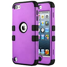 iPod Touch 6 Case,iPod Touch 5 Case,ULAK [Colorful Series] 3 in 1 Anti-slip iPod Touch Case Hard PC+Soft Silicone Hybrid Dust Scratch Shock Resistance Cover for iPod touch 5 6th Gen (Purple / Black)