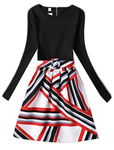 Sleeve Plaid Cromoncent Dress A Casual Crewneck Mini Womens Belted Long 3 Line qgIRtnIr