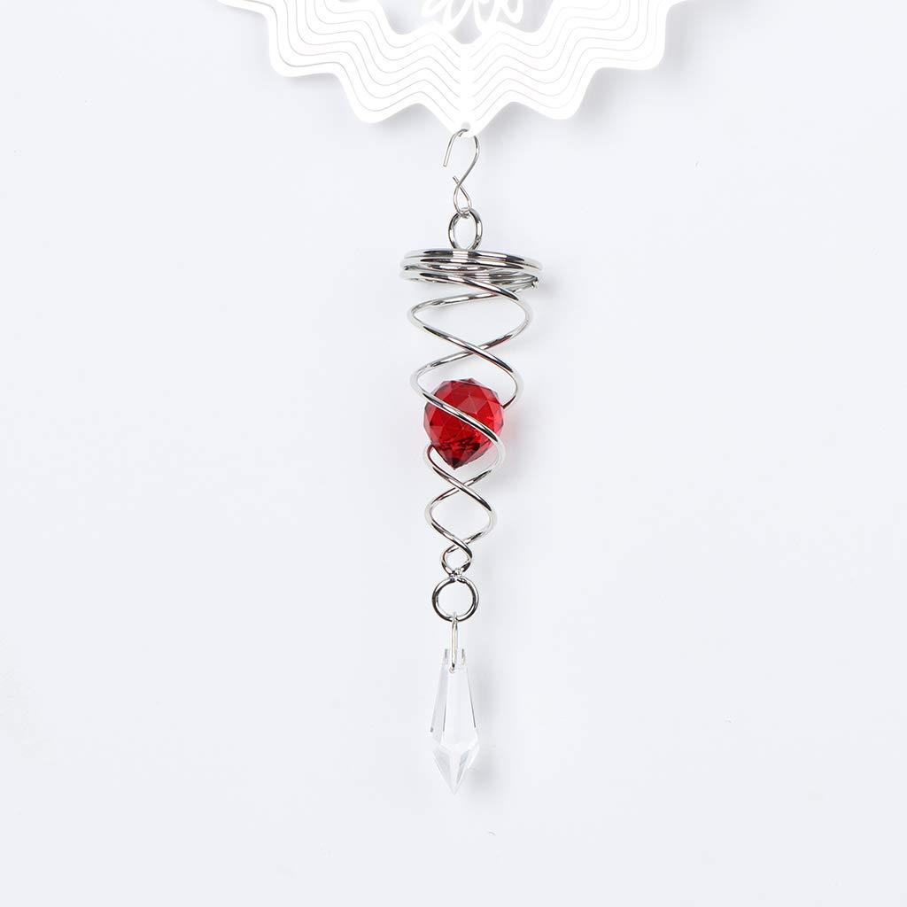 Perfekt f/ür Garten Fr/ühlingsdeko perfeclan Hochwertige Windspinner Windspiel Spiral Schweif mit Kristall Kugel Achteckform