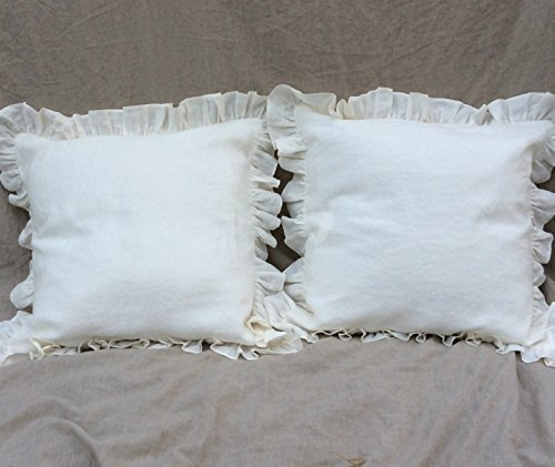 A pair of Ruffle Euro Sham Covers in white linen, White Ruff