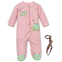 Little Me 2 Piece Baby Girl Newborn Gift Set Footie and Tether Pink 3 Mth