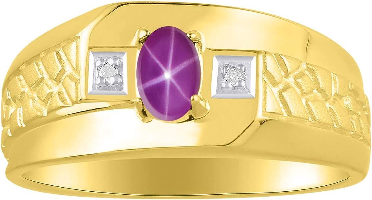 RYLOS - Anillo para hombre con gema en forma ovalada y diamantes brillantes auténticos en oro amarillo de 14 K - 6 x 4 mm piedra de color