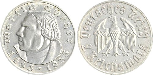 (1933 DE MAGNIFICENT MARTIN LUTHER SILVER COIN MINTED BY THE THIRD REICH IN HAMBURG 2 MARKS Nearly Choice Brilliant Uncirculated)