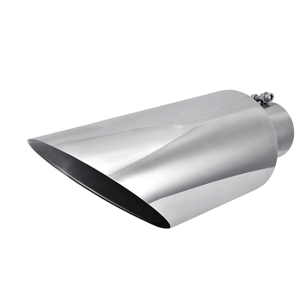 Catinbow Exhaust Tip 4'' Inlet - 7'' Outlet - 18'' Long Stainless Steel Diesel Exhaust Tailpipe Tip Bolt On