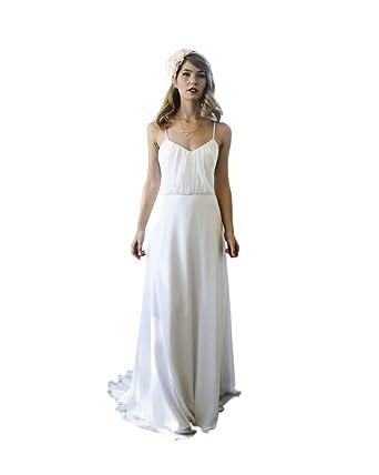 bdd6aa5d34 LADY Women's Spaghetti Strap Sheath Open Back Chiffon Beach Wedding Dress  White US2