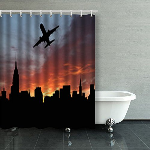 Shower Curtains Plane Departing Midtown Manhattan Sunset Illustration New York Jets 60Wx72L Inches Home Decorative Waterproof Polyester Fabric Bathroom Decor Bath ()