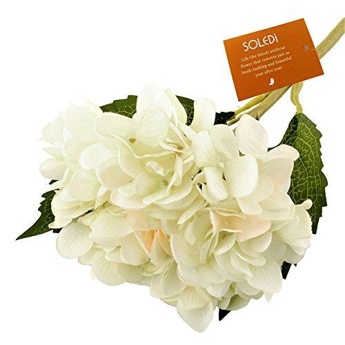 Soledi Vintage Artificial Silk Rose Hydrangea Flower Arrangement Autumn Peony Bouquet Room Home Office Wedding Party Flowers Decor White Green