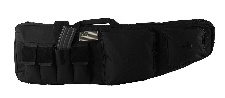 NiceAndGreat 39'' Double Rifle Case Premium Tactical AR AK M4 Carbine Bag Lockable Military Gun Soft Dual Padded Bag 4 Large Magazine Pouches Front Pockets MOLLE by NiceAndGreat