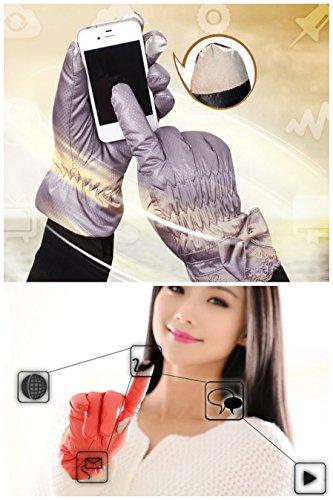 Youchan(ヨウチャン) レディース 手袋 グローブ リボン ギャザー 裏起綿 防寒 防水 スマホ対応 キュート 冬