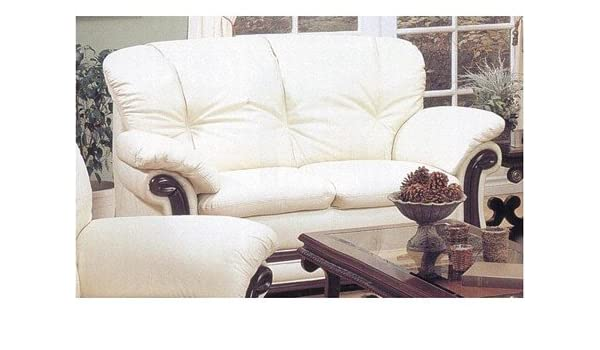 Amazon.com: Elegance Style Bone Color Top Grain Leather Couch ...