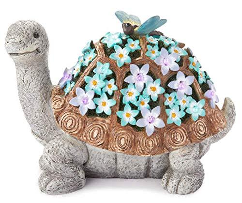 (Flower Turtle & Butterfly Solar Light Statuary 14.1