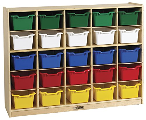 ECR4Kids Birch 25 Cubby Tray Cabinet with Scoop Front Assorted Color Bins (25 Tray Storage)