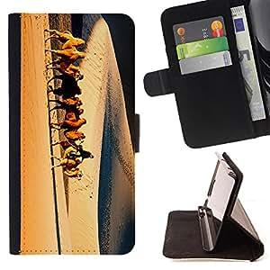 Dragon Case- Mappen-Kasten-Prima caja de la PU billetera de cuero con ranuras para tarjetas, efectivo Compartimiento desmontable y correa para la mu?eca FOR Apple iPhone 6 6S 4.7 - Sun desert View