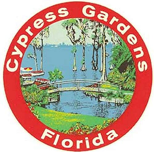 Cypress Garden Bridge - Cypress Gardens Florida Bridge Vintage Travel Decal Sticker Souvenir