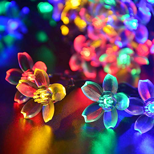 qedertek solar string lights 21ft 50 led fairy blossom flower garden lights for outdoor home lawn wedding patio party and holiday decorations - Decorative Solar Lights