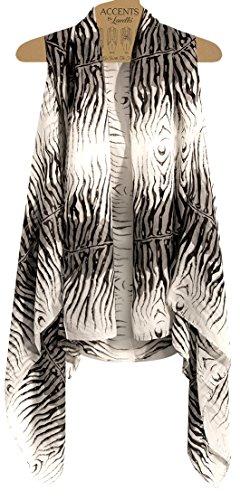 Accents by Lavello Sheer Designer Vest, Black/White Zebra Print