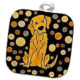 3dRose All Smiles Art - Pets - Cute Funny Golden Retriever Puppy Dog Abstract Art Pattern - 8x8 Potholder (PHL_292514_1)