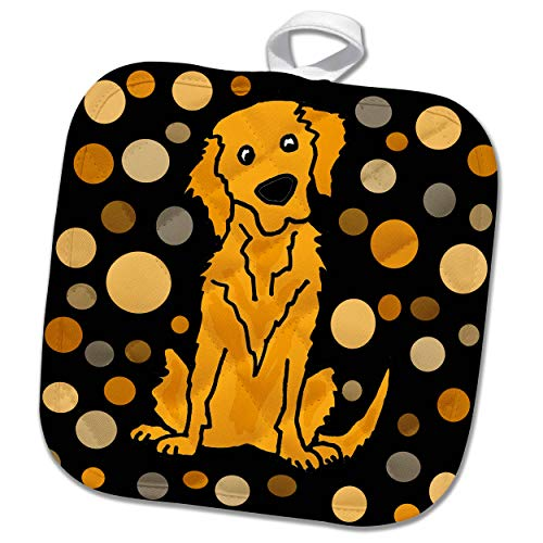 3dRose All Smiles Art - Pets - Cute Funny Golden Retriever Puppy Dog Abstract Art Pattern - 8x8 Potholder (PHL_292514_1) by 3dRose