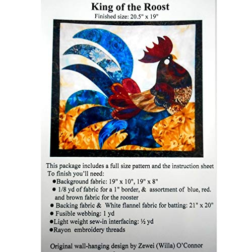 (King of the Roost,Rooster Applique Quilting Full Size Quilt Pattern & Instruction Only, Quilter)