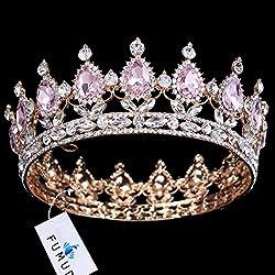 Elegant Pink Crystal Gold Bridal Tiaras