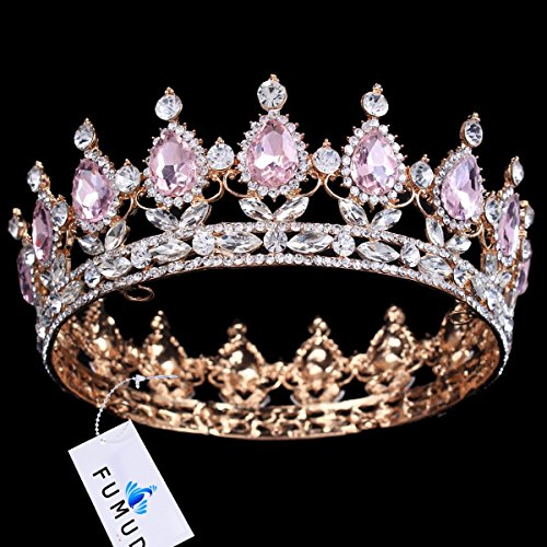 FUMUD Hot sale New Fashion Elegant Pink Crystal Bridal crown classic Gold Tiaras for Women Wedding hair jewelry accessories