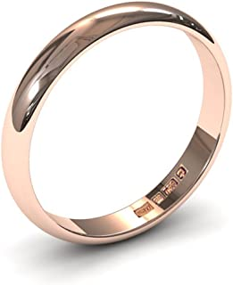 Xzara - New 9ct and 18ct Solid Gold 3mm Ladies/Gents UK Hallmarked D Shaped Wedding Ring Band (Available in White Gold/Rose Gold/Yellow Gold)