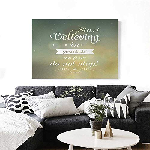 homehot Quote Modern Canvas Painting Wall Art Start Believing in Yourself and Do Not Stop Inspiring Typographic Ornamental Art Art Stickers 28