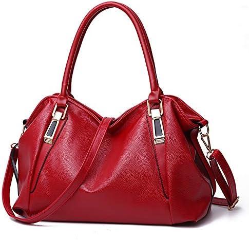 ハンドバッグ - 女性のロングショルダーストラップ、ソフト小石PU材料とファッショントート、マルチポケットバックパック、ブラック/ブルー/レッド、36 * 14 * 41センチメートル よくできた (Color : Red)