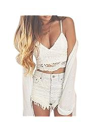 Welcomeuni Women white Crochet Tank Camisole Lace Vest Blouse Bralette Bra Crop Top