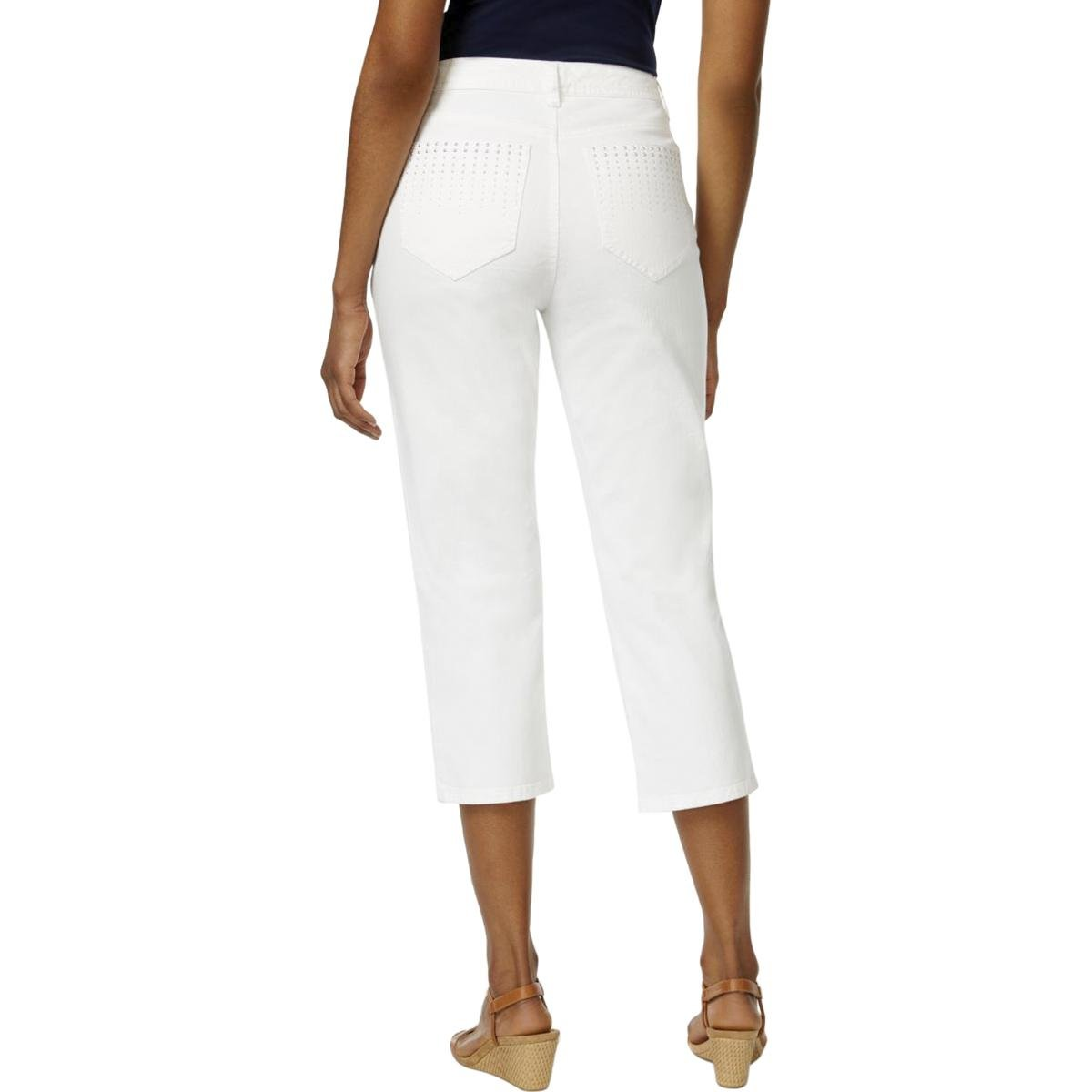 JM Collection Womens Embellished High Rise Capri Jeans White 14
