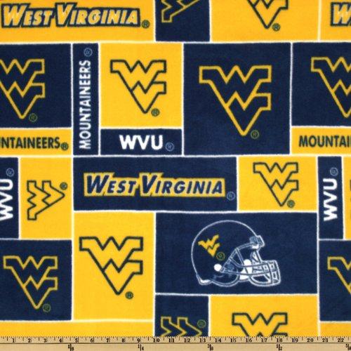 (Sykel Enterprises Collegiate Fleece West Virginia University Blocks Blue/Yellow Fabric By The Yard)