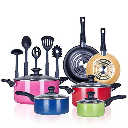 Pots and Pans 15 Piece Performance 3 Layer Nonstick Cookware Set,Heavy Gauge and Durable,Even Heat Distribution-inc.5 FDA Grade Nylon Utensils-by COOKSMARK