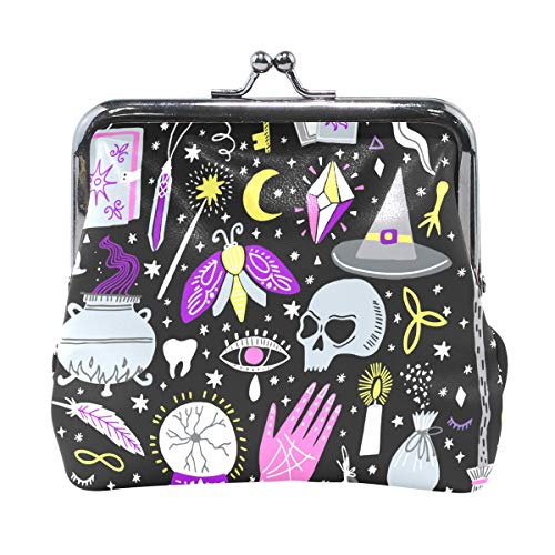 Halloween Bat Skull Witch Wallet Coin Purses Vintage Pouch Fashion PU Leather Money Card Holder for Women Girls Teen Kids