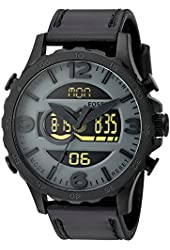 Fossil Men's Quartz Stainless Steel and Leather Casual Watch, Color:Black (Model: JR1520)
