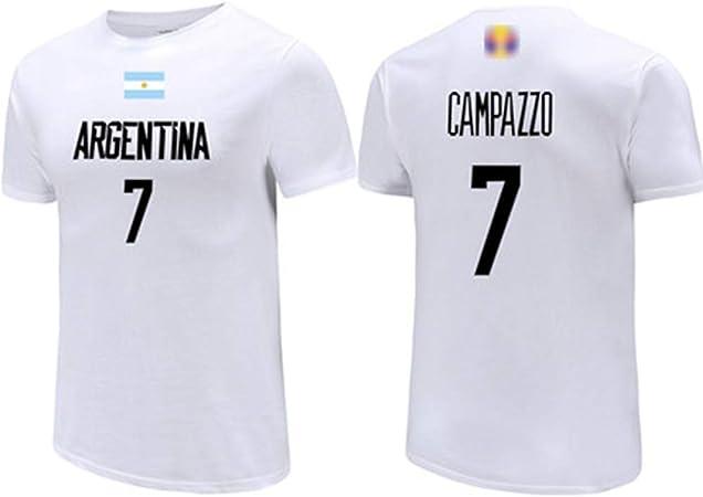 HS-XP Campazzo No.7 ARG Baloncesto Equipo Nacional T-Camisa Blanca, Jerseys de los Hombres, Casual Baloncesto Sudadera Uniforme Sportwear de 2019 Baloncesto Copa del Mundo,A,L(173~178) CM: Amazon.es: Hogar