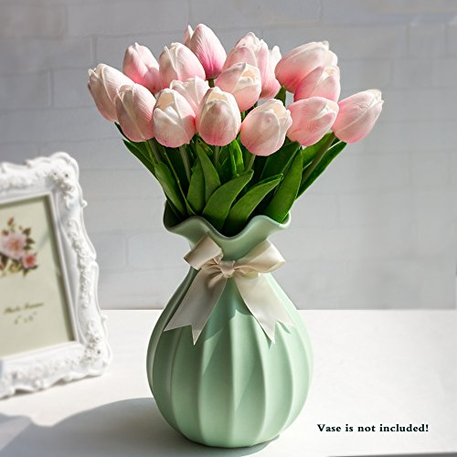 Artificial Tulips Real Touch PU Tulips Flowers Arrangement Bouquets 10 Single Stem Artificial Flower Bouquets for Home/Wedding/Party Decor (Pink)