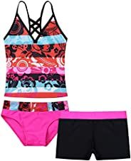 YOOJIA Kids Big Girls Floral Printed 3Pcs Tankini Swimsuit Swimwear Boyshort Crop Top with Bottom Briefs Set B