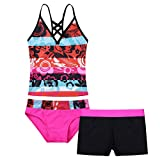 iiniim Little Girls' Kids Summer Two Piece Boyshort Tops Tankini Kids Swimsuit Swimwear Set Hot Pink Floral 14 Years