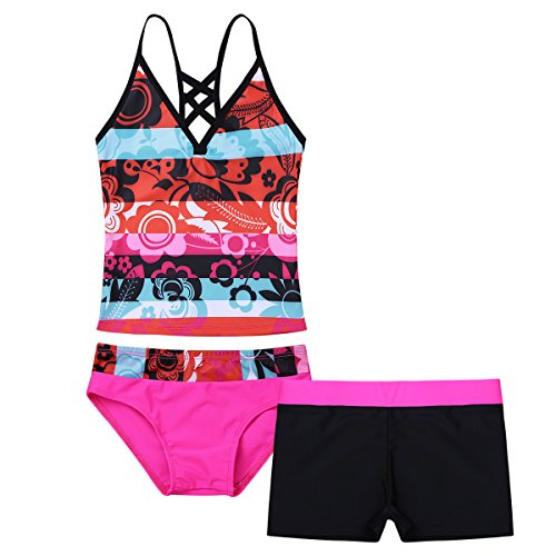 iEFiEL Big Girls Peace Signs Heart Print 2Pcs Tankini Swimwear Bathing Suit (8, Hot Pink Floral)