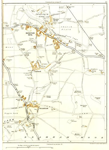 Buy now YORKSHIRE:Boston Spa,Bramham,Bramham Moor,Clifford,Thorp Arch 1935 old map