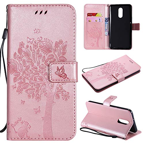 LG Stylo 4 Case,LG Stylo 4 Plus Case,LG Q Stylus PU Leather Wallet Embossed  Floral Tree Cat Case with Kickstand Flip Cover Card Holder for LG Stylo
