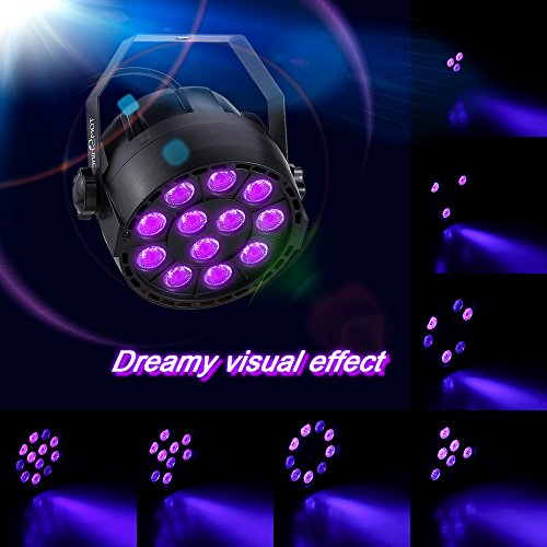 Tomshine 12 LED UV Stage Par Light Sound Activate Black Lights DMX512 36W DJ Spotlight Stage Lighting for Party Pub Club Disco Show KTV Wedding