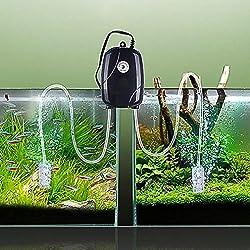 Rhinox Aquarium Oxygen Air Pump, 2 Air Stones, 2 Silicone Tubes, 5W Aerator Powers 2 Small and Medium-Sized Fish Tanks, Supports Marine & Freshwater Tanks, Eliminates Water Stagnation, 1 Set